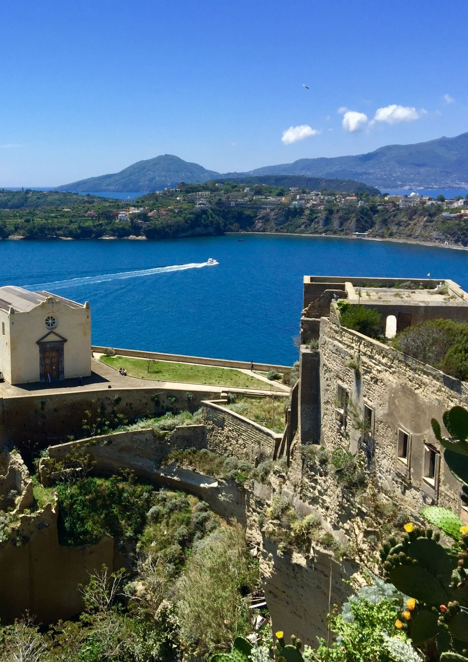 View of the church and the fortress of Terra Murata in Procida