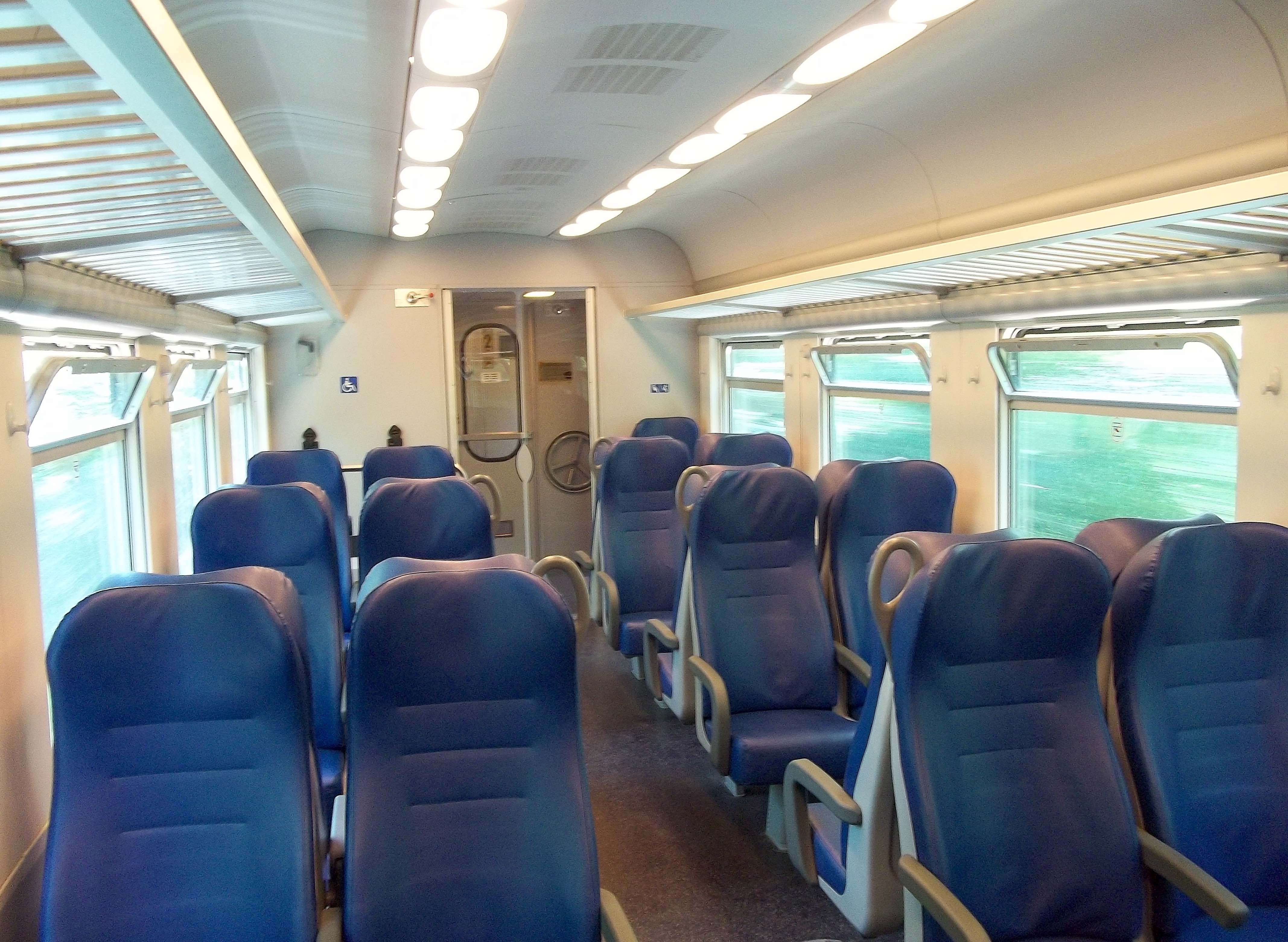 Interior of a train in Italy