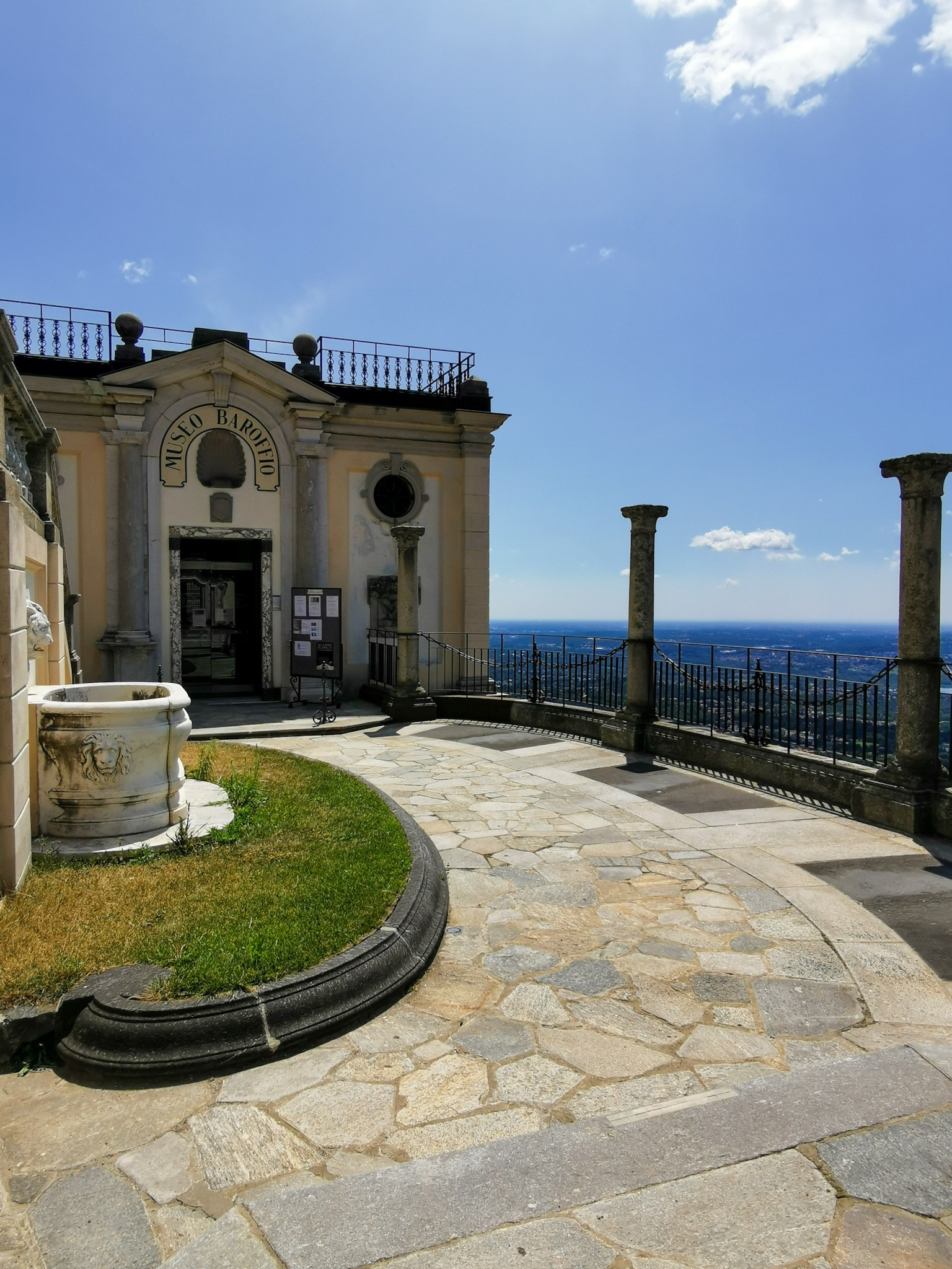 The terrace of the Baroffio Museum in Santa Maria del Monte near Varese
