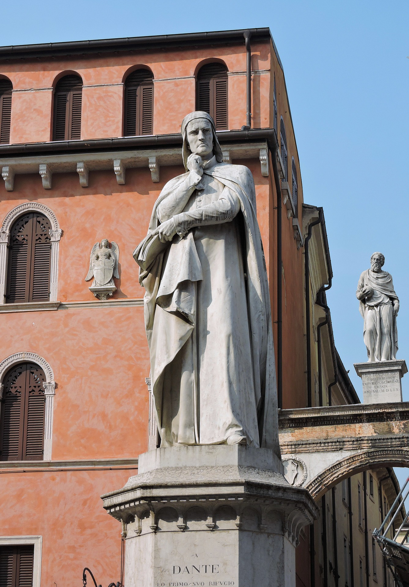 The statue of Dante in Piazza dei Signori in Verona