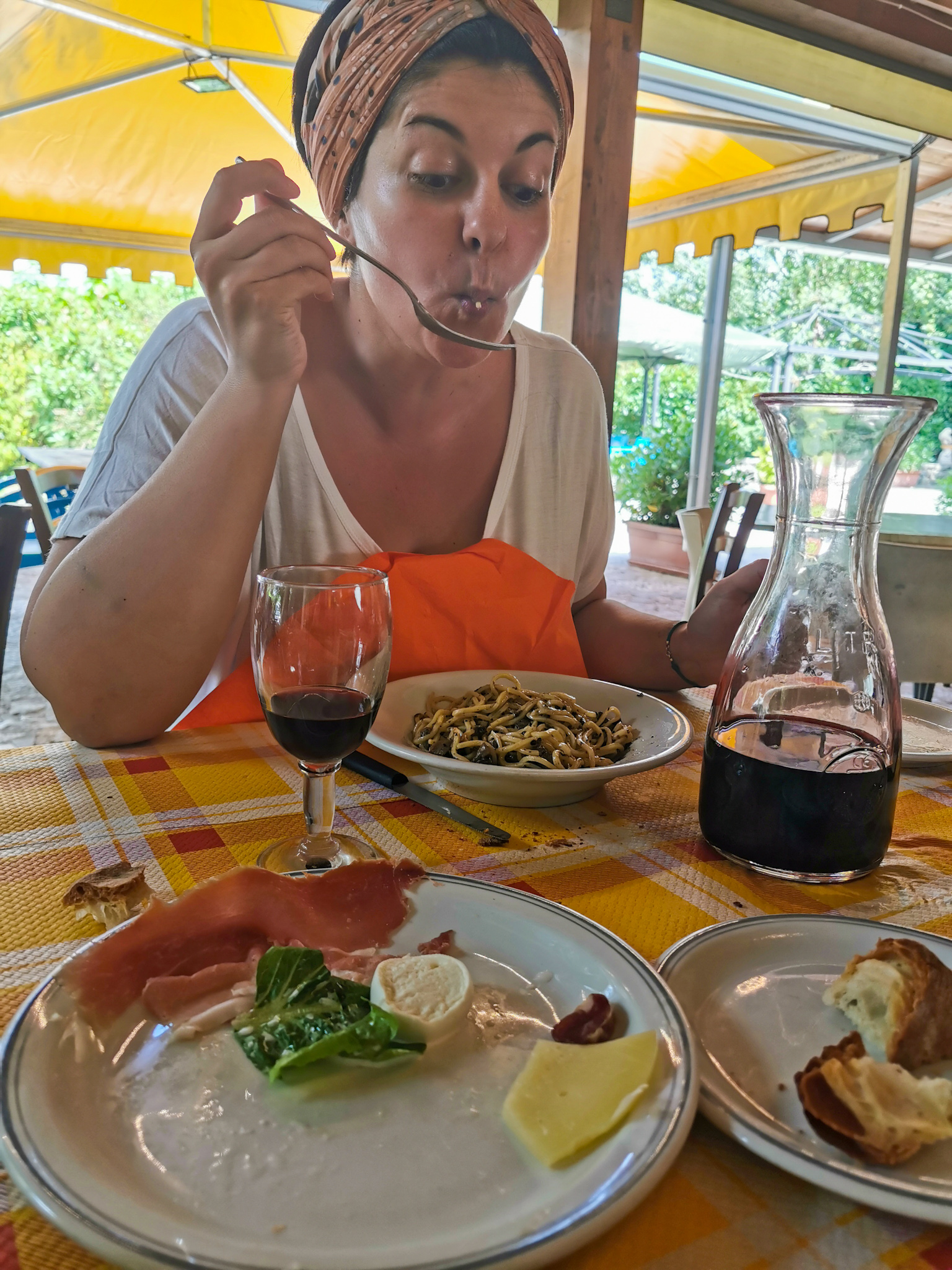 Eating pasta with mushrooms and truffles in Altilia, in the region of Molise