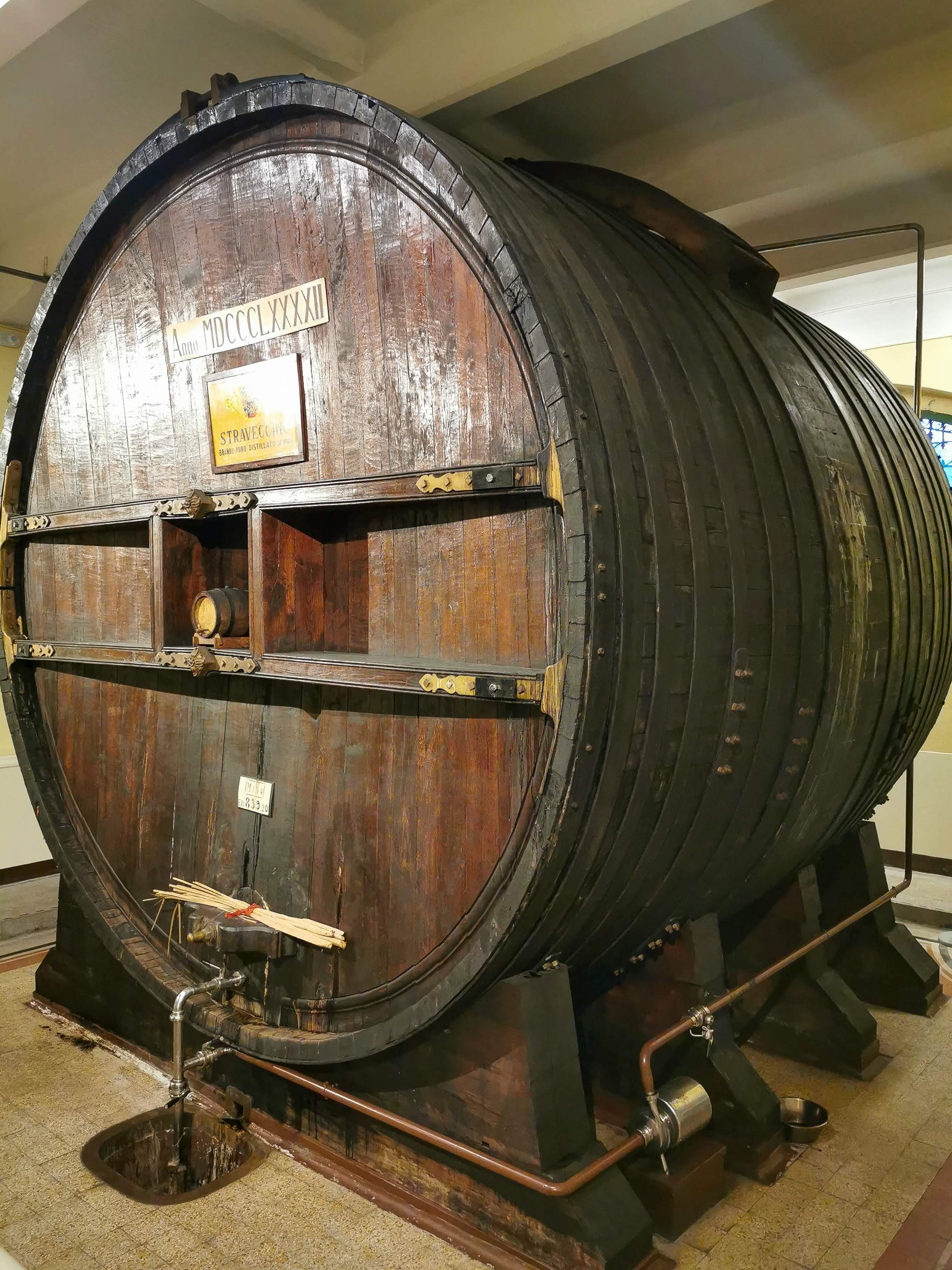 The mother barrel at the Branca museum in Milan