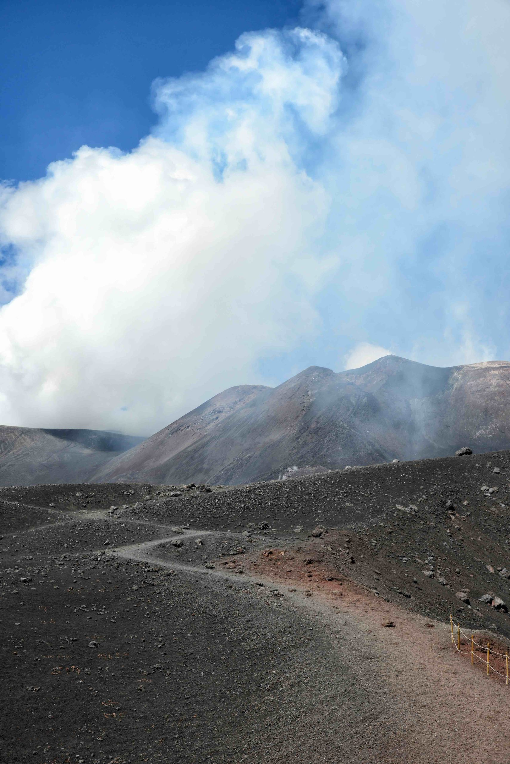 View of the slopes of Mount Etna at the island Sicily, Italy