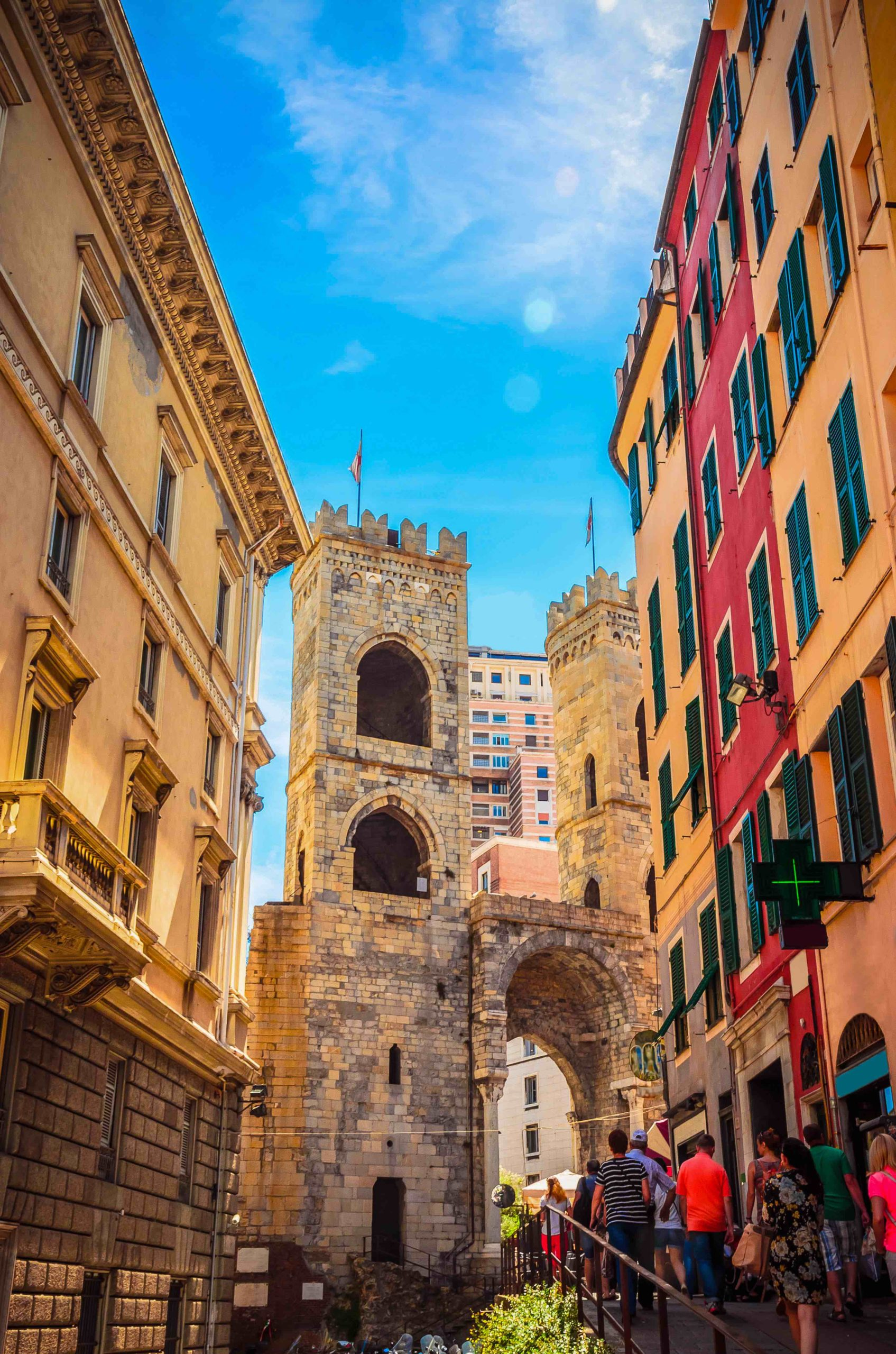 Porta Soprana in Genoa in a beautiful summer day, Liguria, Italy