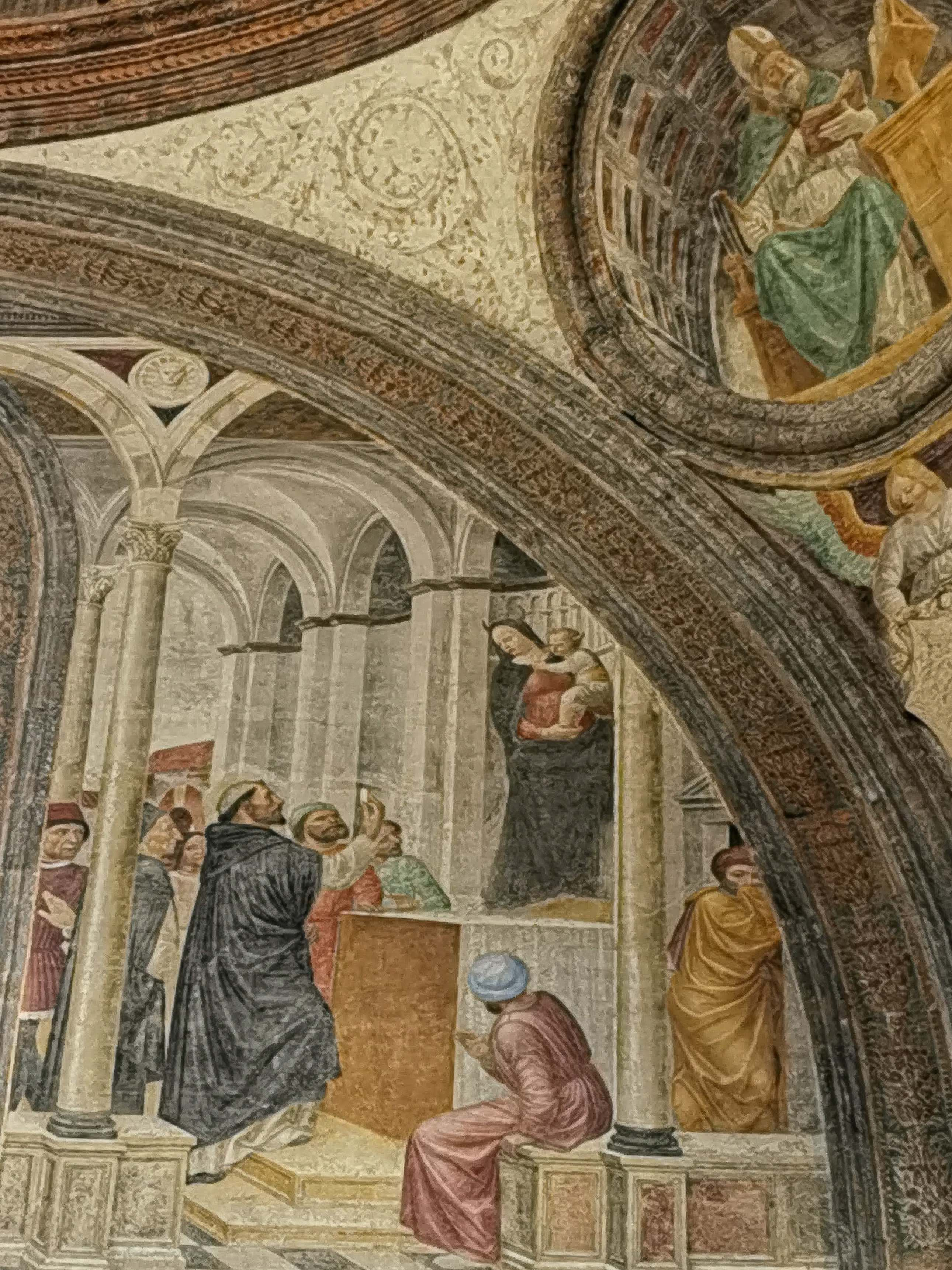 Mary and Jesus with devil's horn in the Portinari Chapel inside the Church of Sant'Eustorgio in Milan