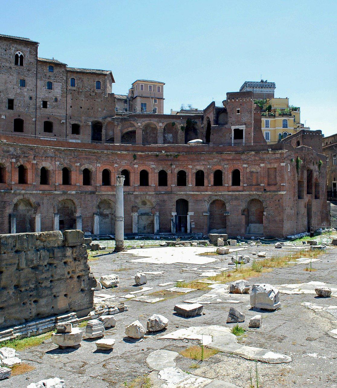 The Trajan's Market in Rome was commissioned by Emperor Trajan in 107 AD and is a semicircular complex arranged over multiple levels, with a series of commercial and administrative buildings where public activities took place