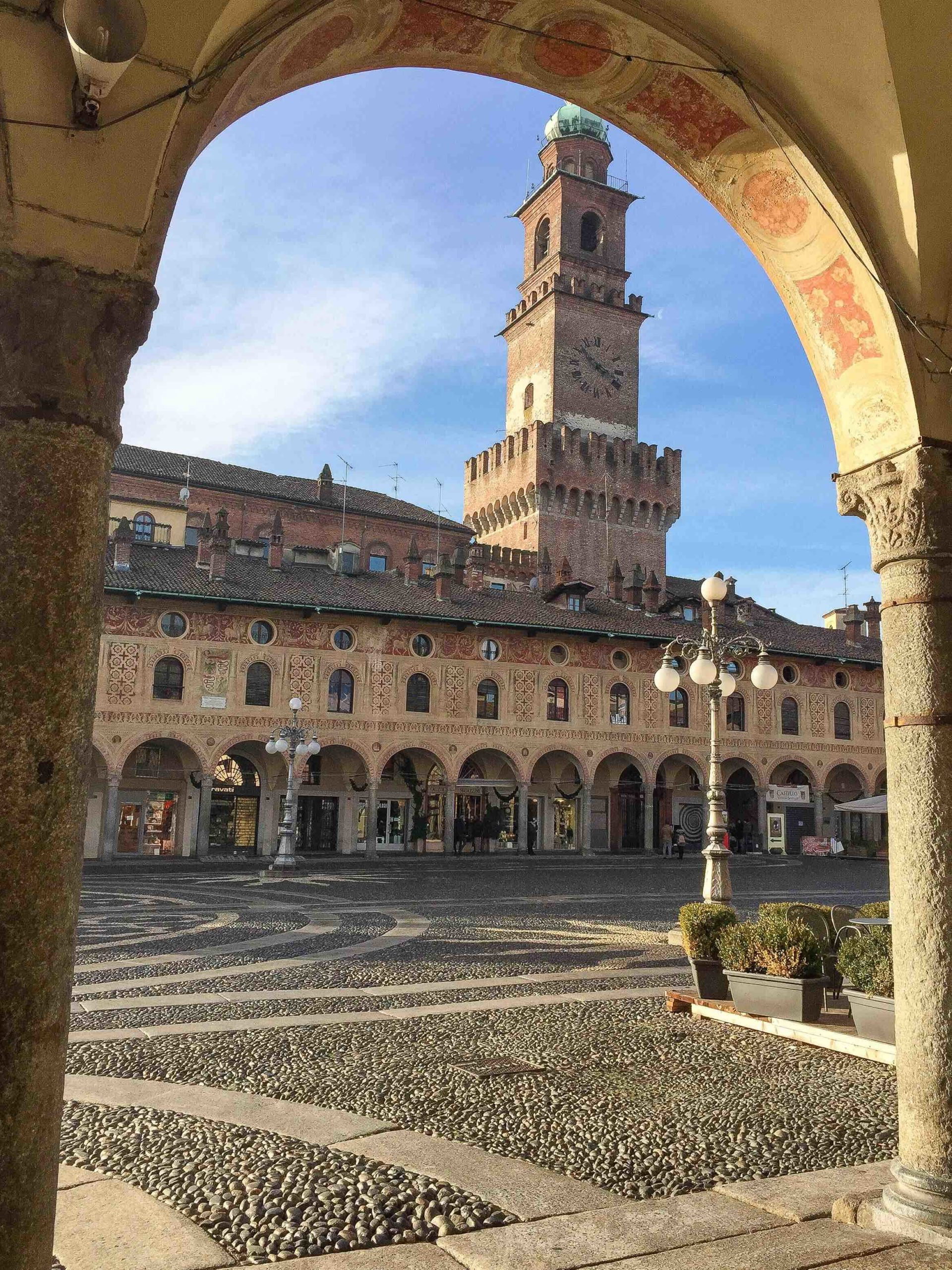 View of the splendid Piazza Ducale in Vigevano