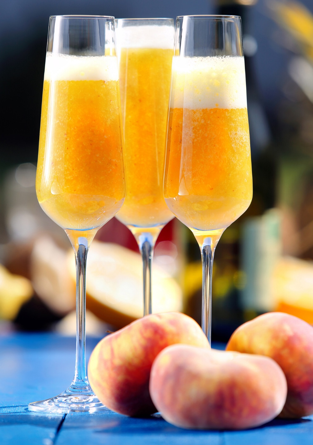 A Bellini cocktail made with Prosecco and peach purée