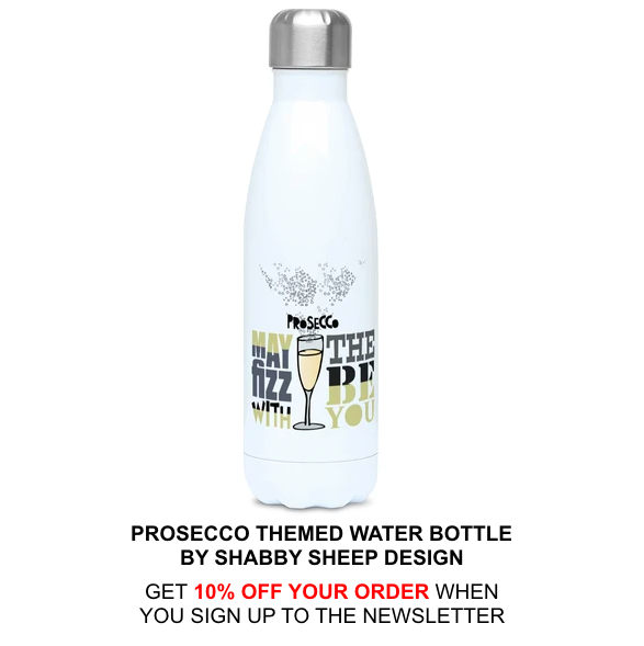 Prosecco-themed reusable water bottle by Shabby Sheep Design