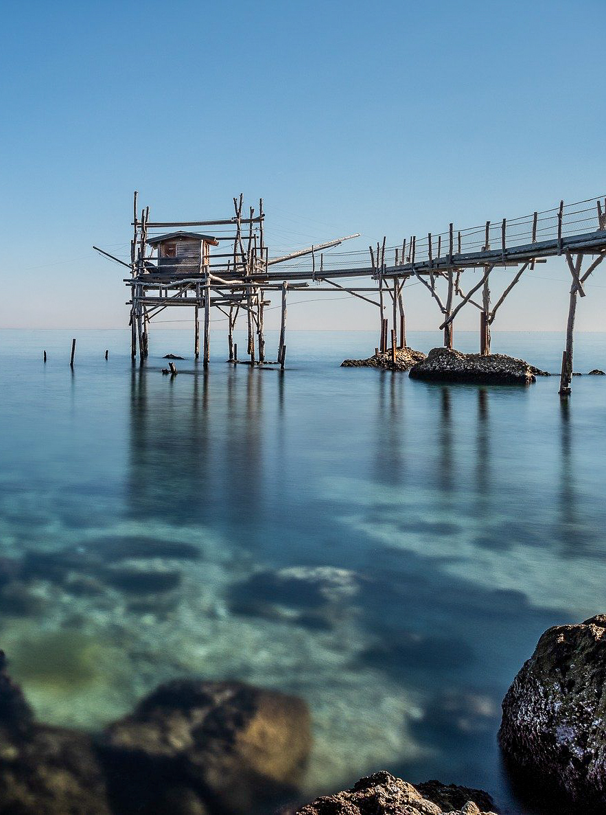 A trabucco, an olden wooden fishing machine, along the Abruzzo coastline