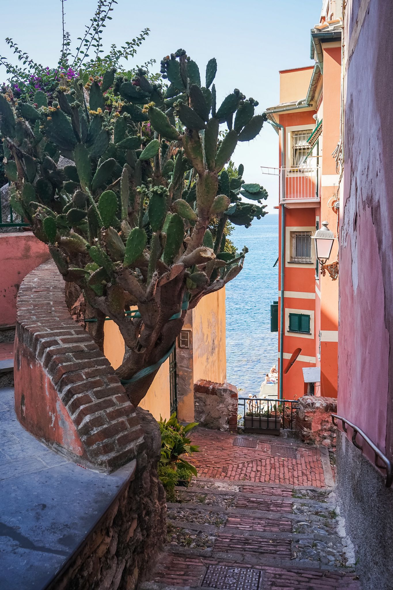 A colourful alley in Boccadasse, the fishing hamlet near Genoa