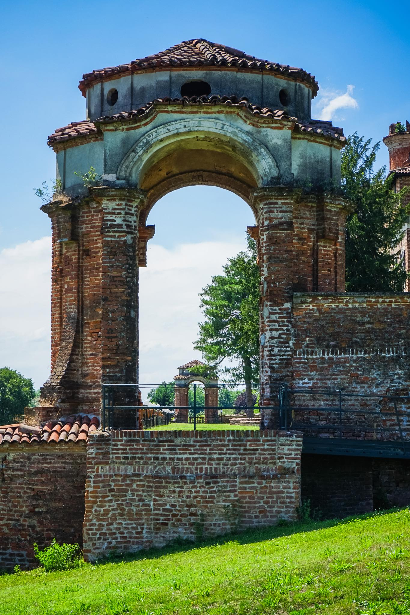 Architectural details in the park of the Castle of Chignolo Po in Lombardy