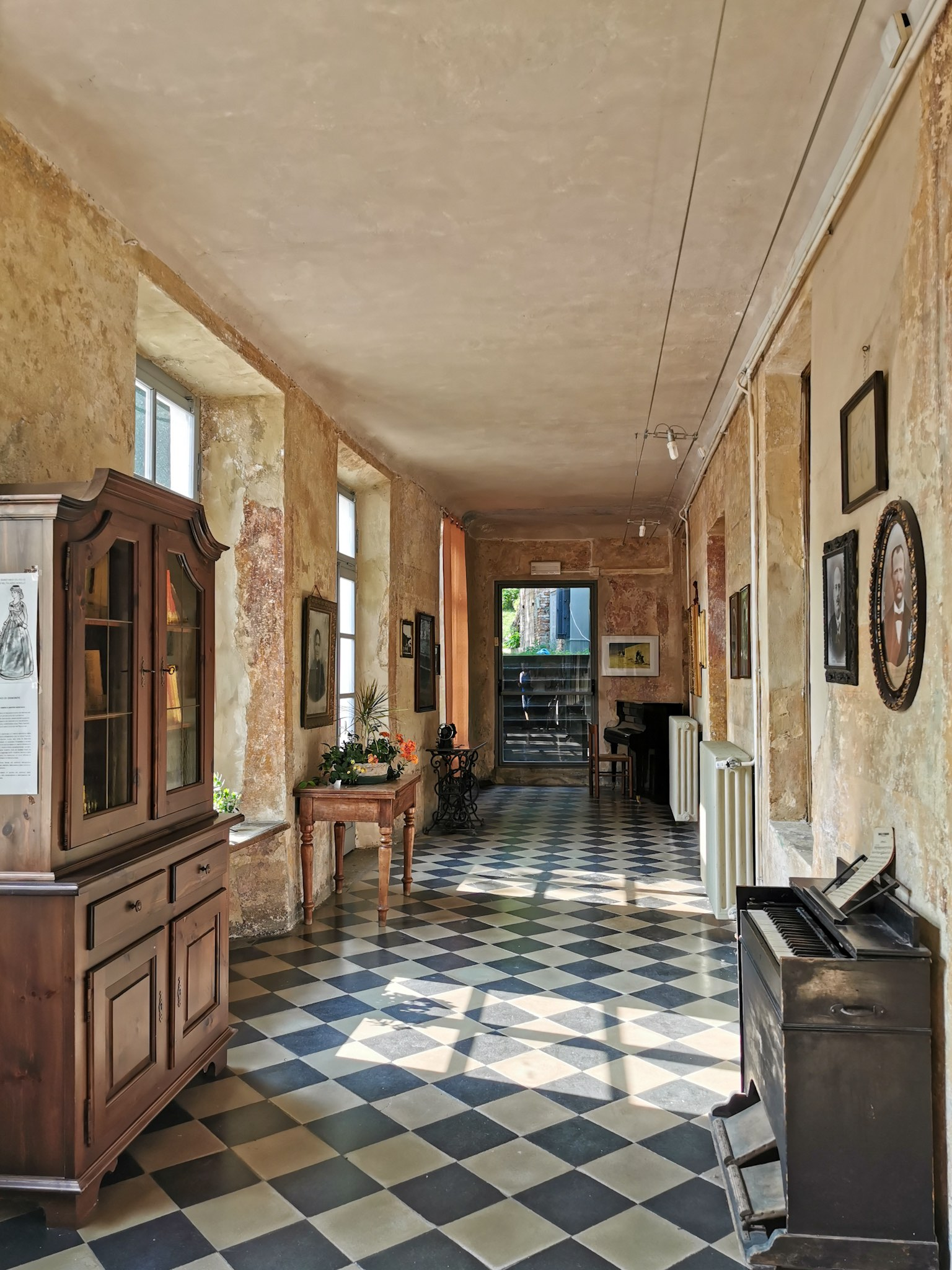 One of the corridors of Palazzo Borelli in the village of Demonte in Piedmont