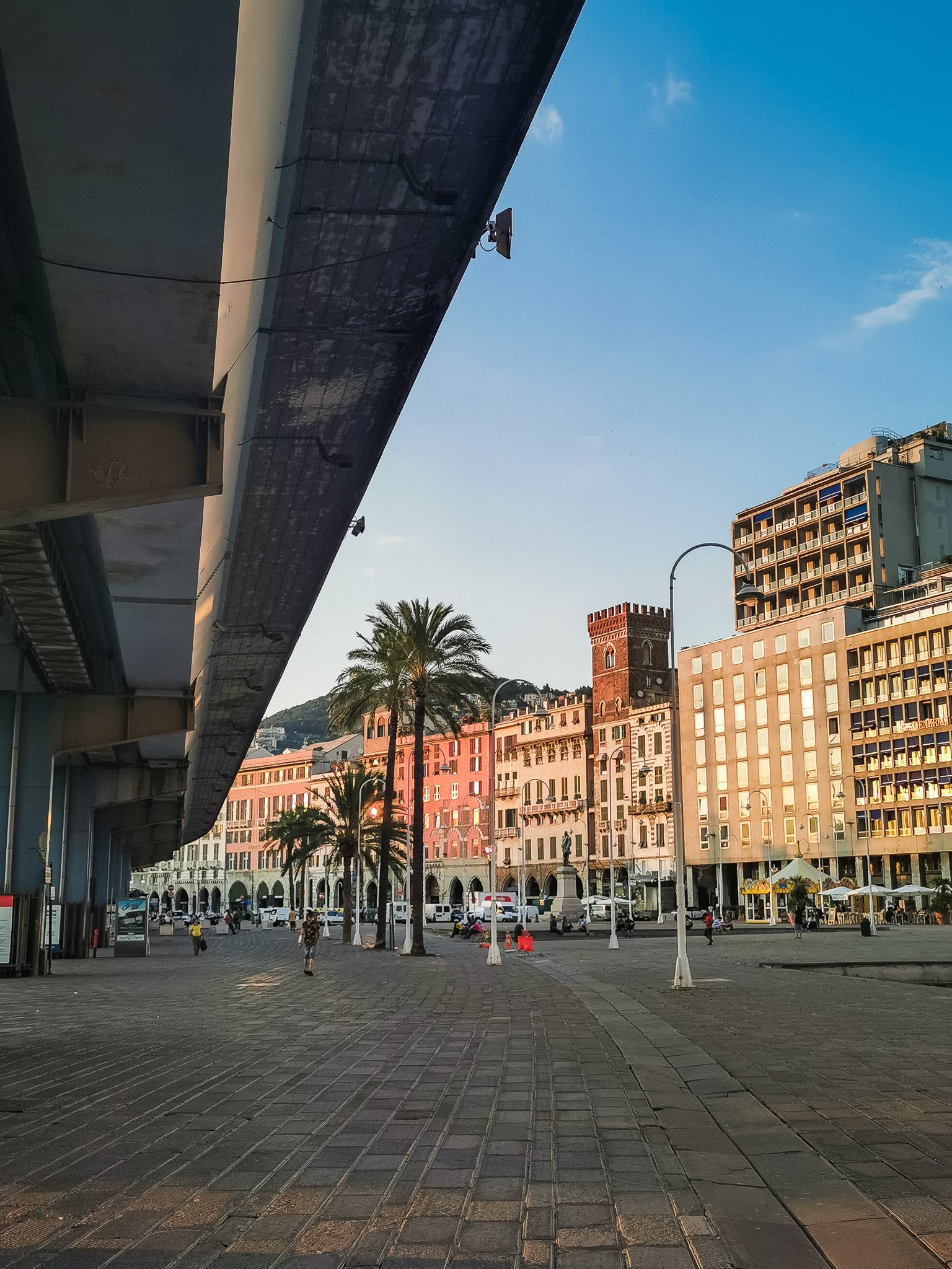 The overpass rising over the ancient port of Genoa