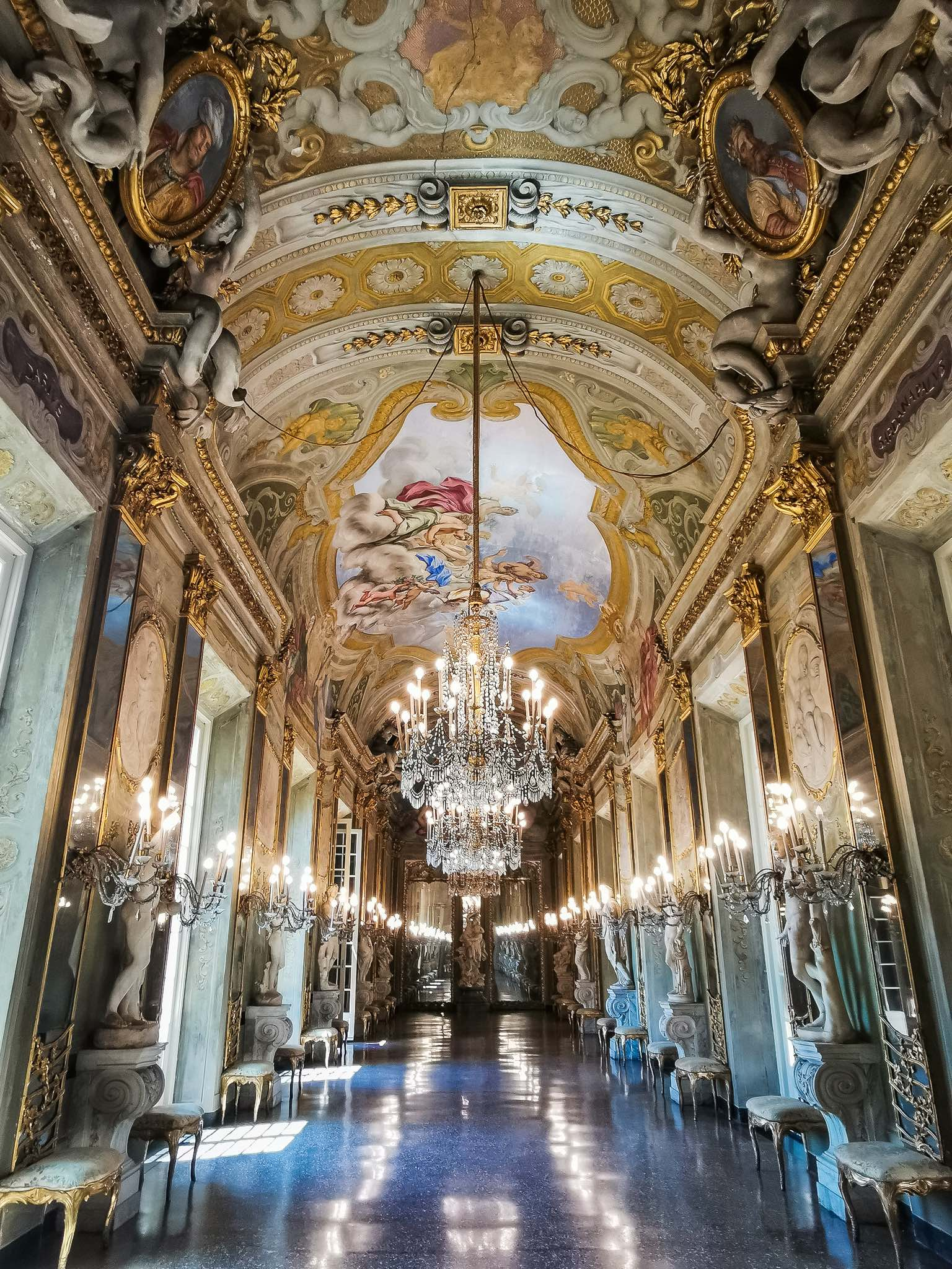 The gorgeous Hall of Mirrors inside the Royal Palace in Genoa