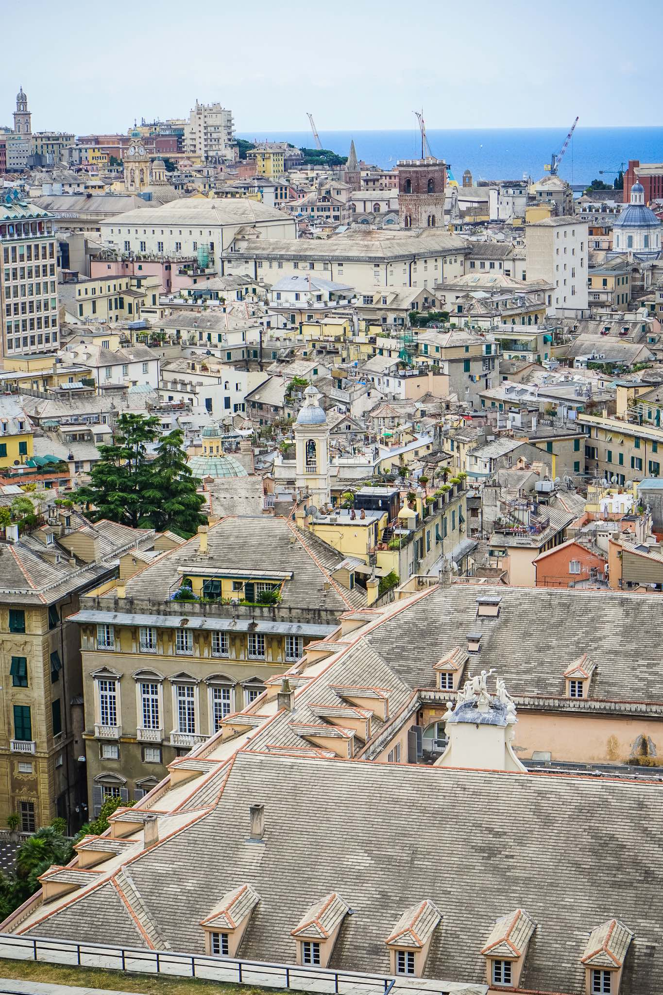The views over Genoa from the panoramic terrace of Spianata Castelletto