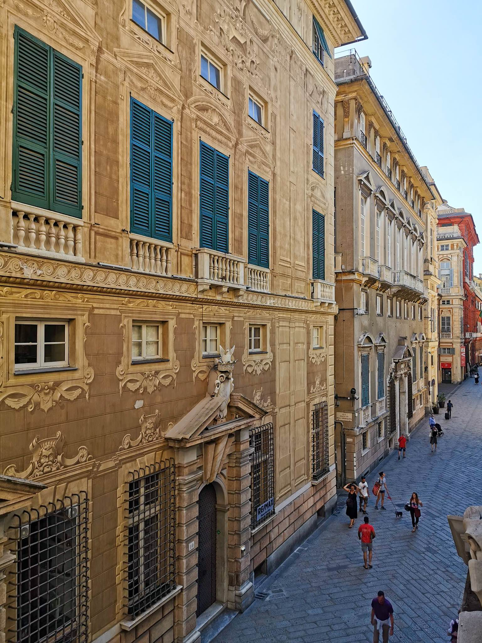 Via Garibaldi, the gorgeous street home to the Palazzi dei Rolli Unesco site in Genoa