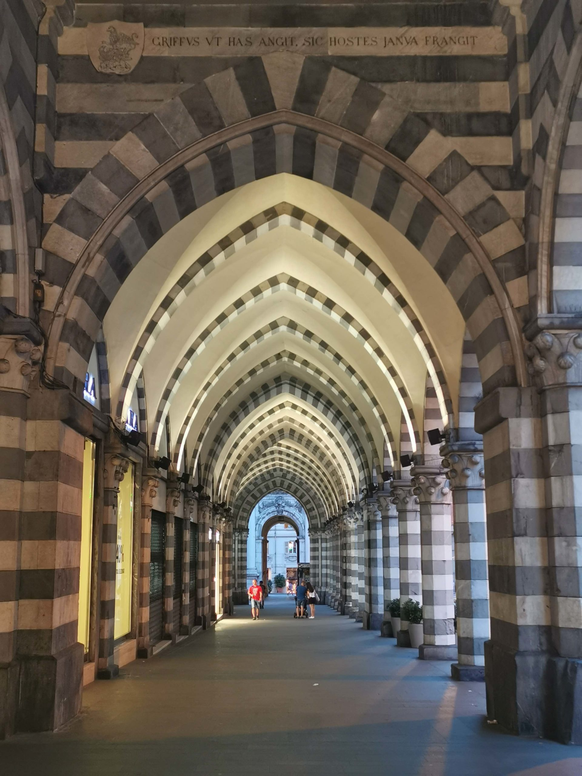 The striped arched on via XX Settembre in Genoa city centre