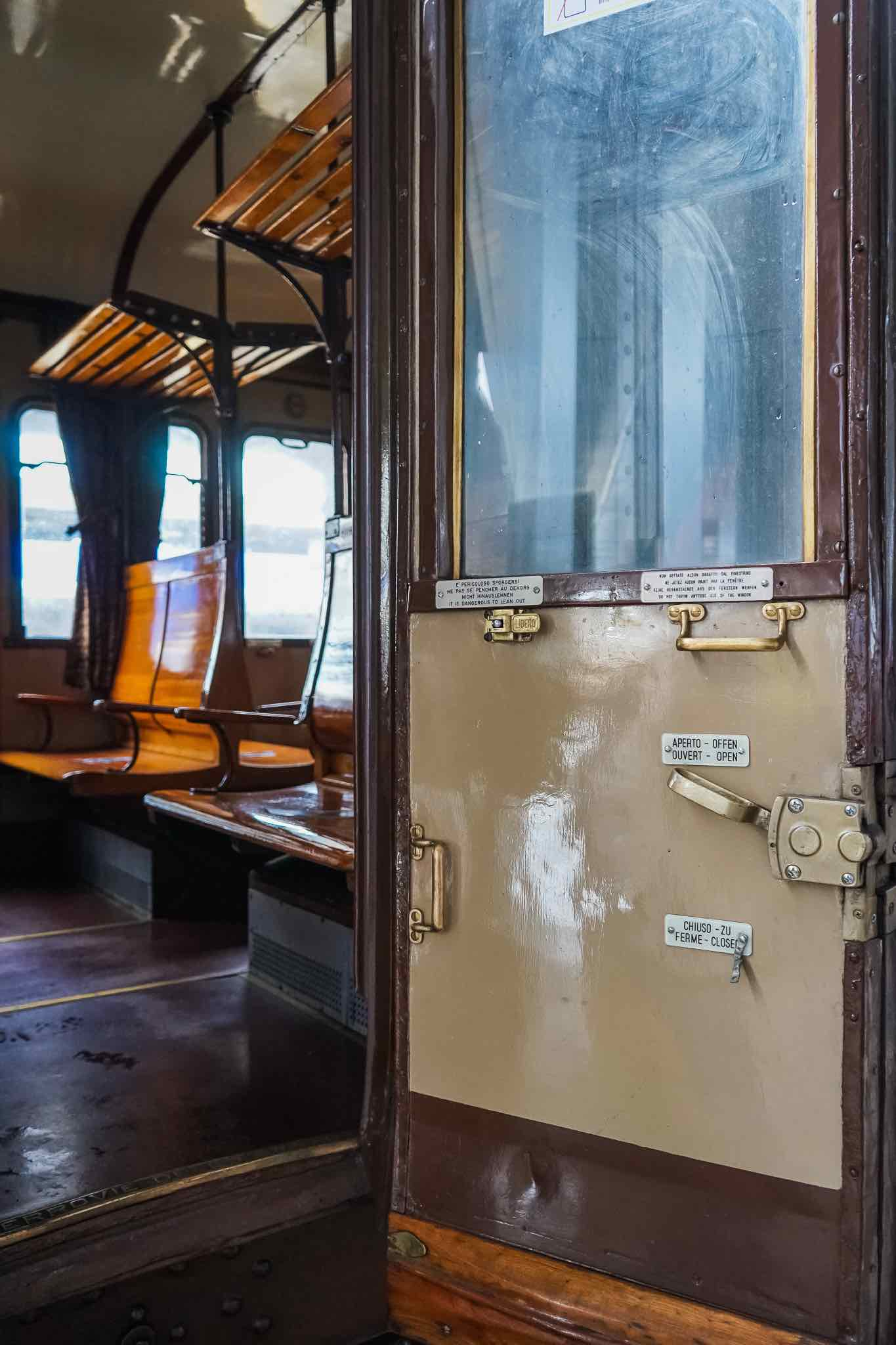 A vintage carriage of the Italian Trans-Siberian railway
