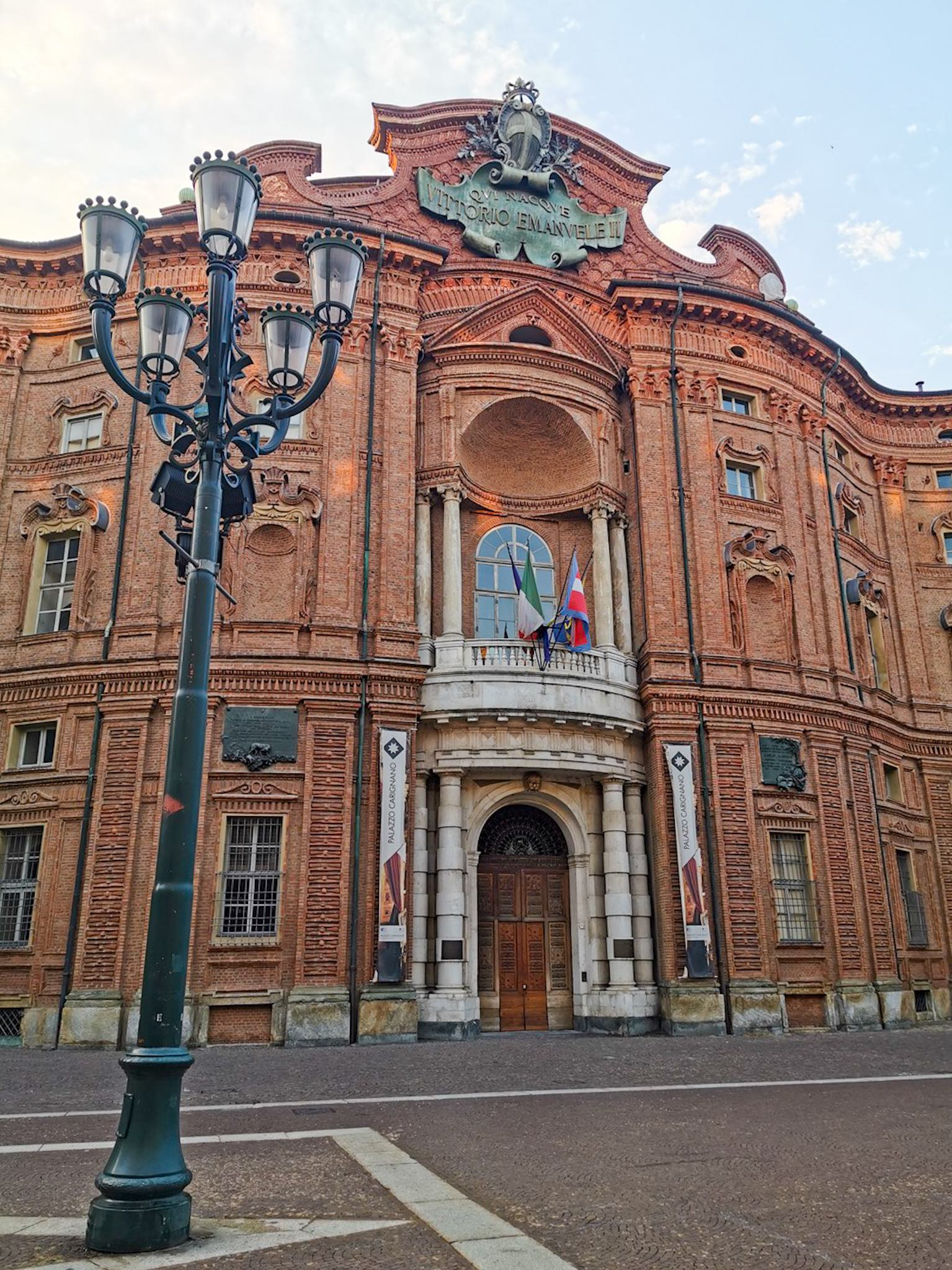 The facade of Carignano Palace in Piazza Carignano, one of Turin's most beautiful squares