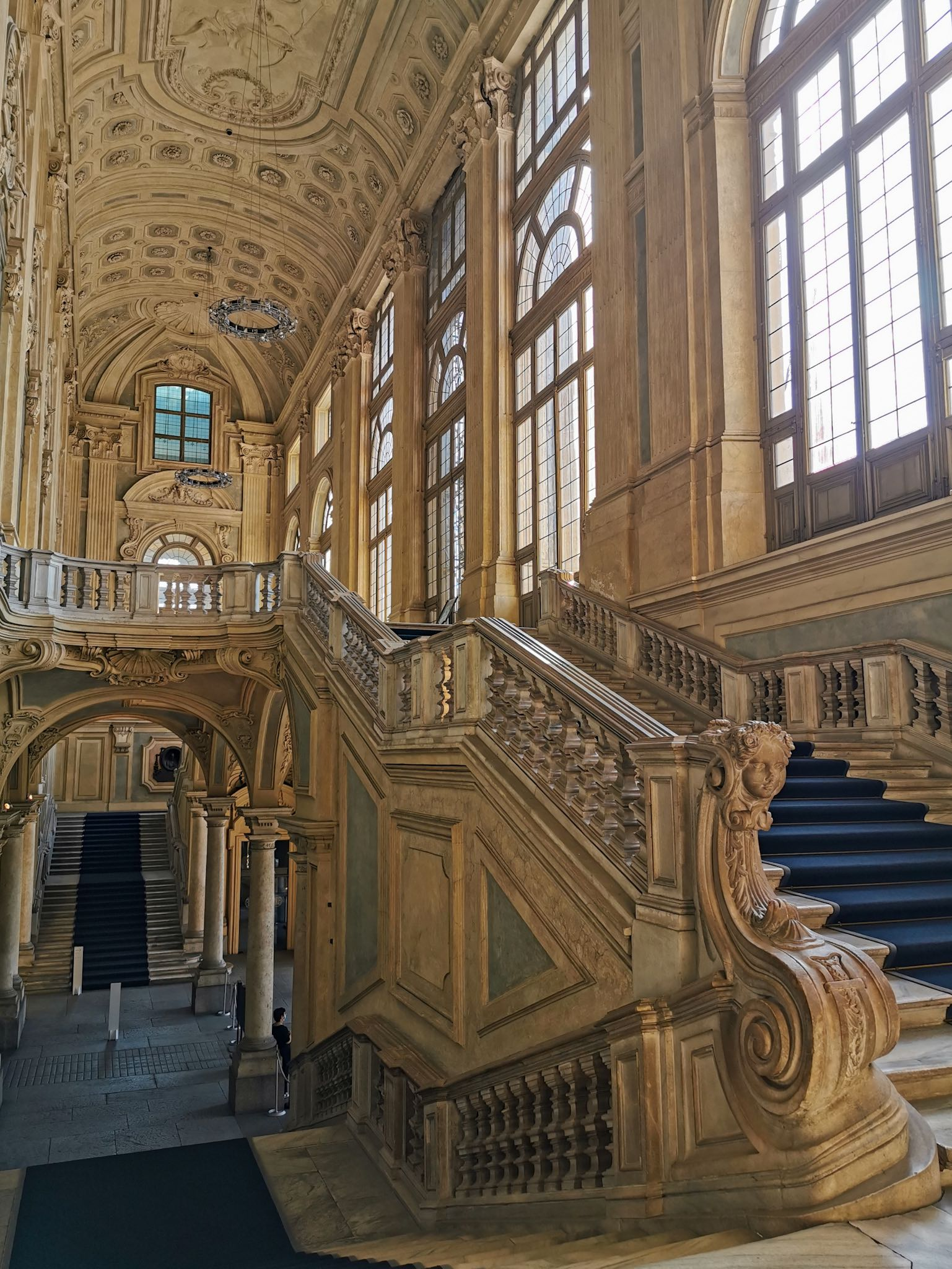 the grandiose staircase of Palazzo Madama in Turin