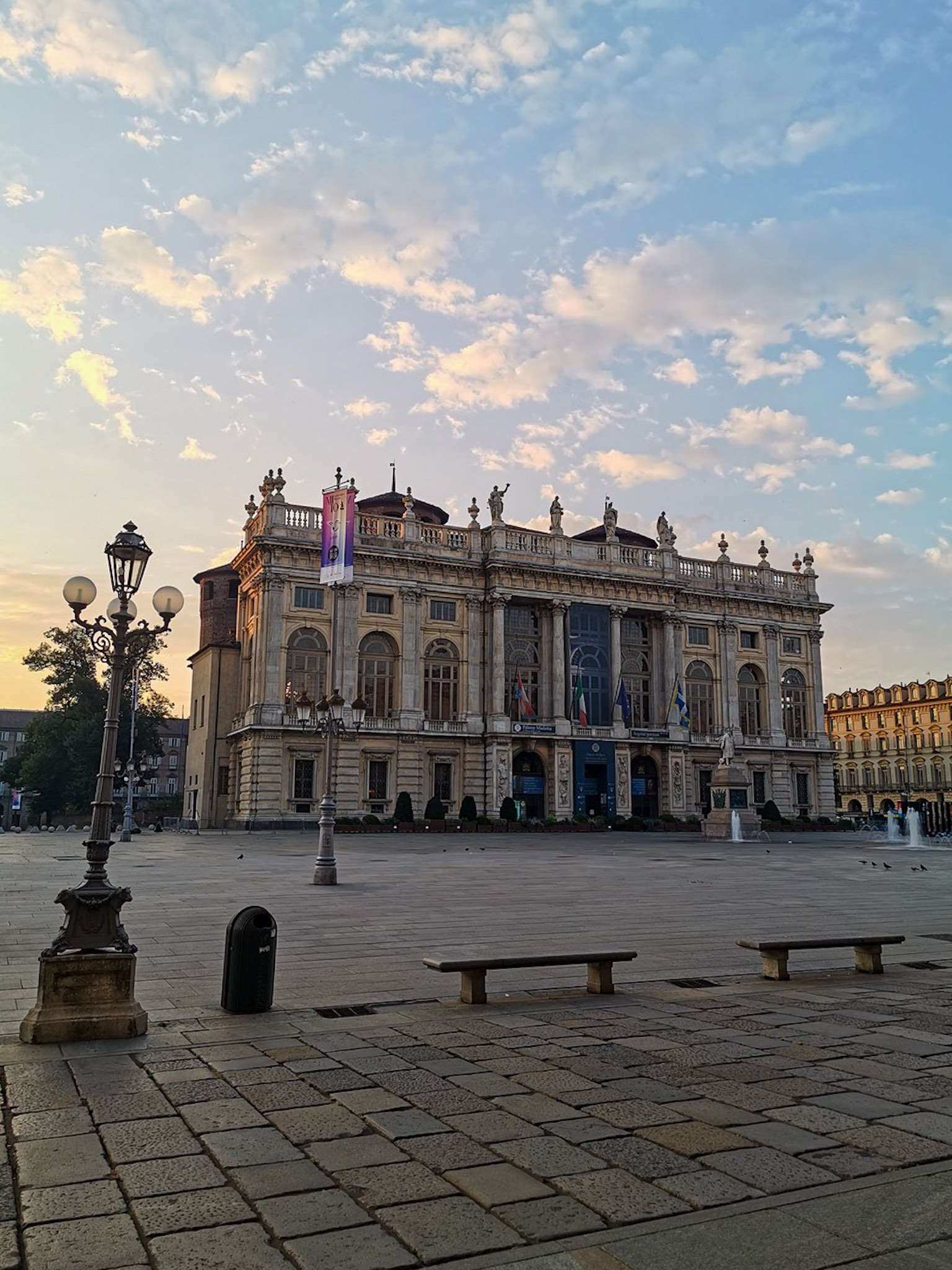 View of Palazzo Madama in Turin at dawn
