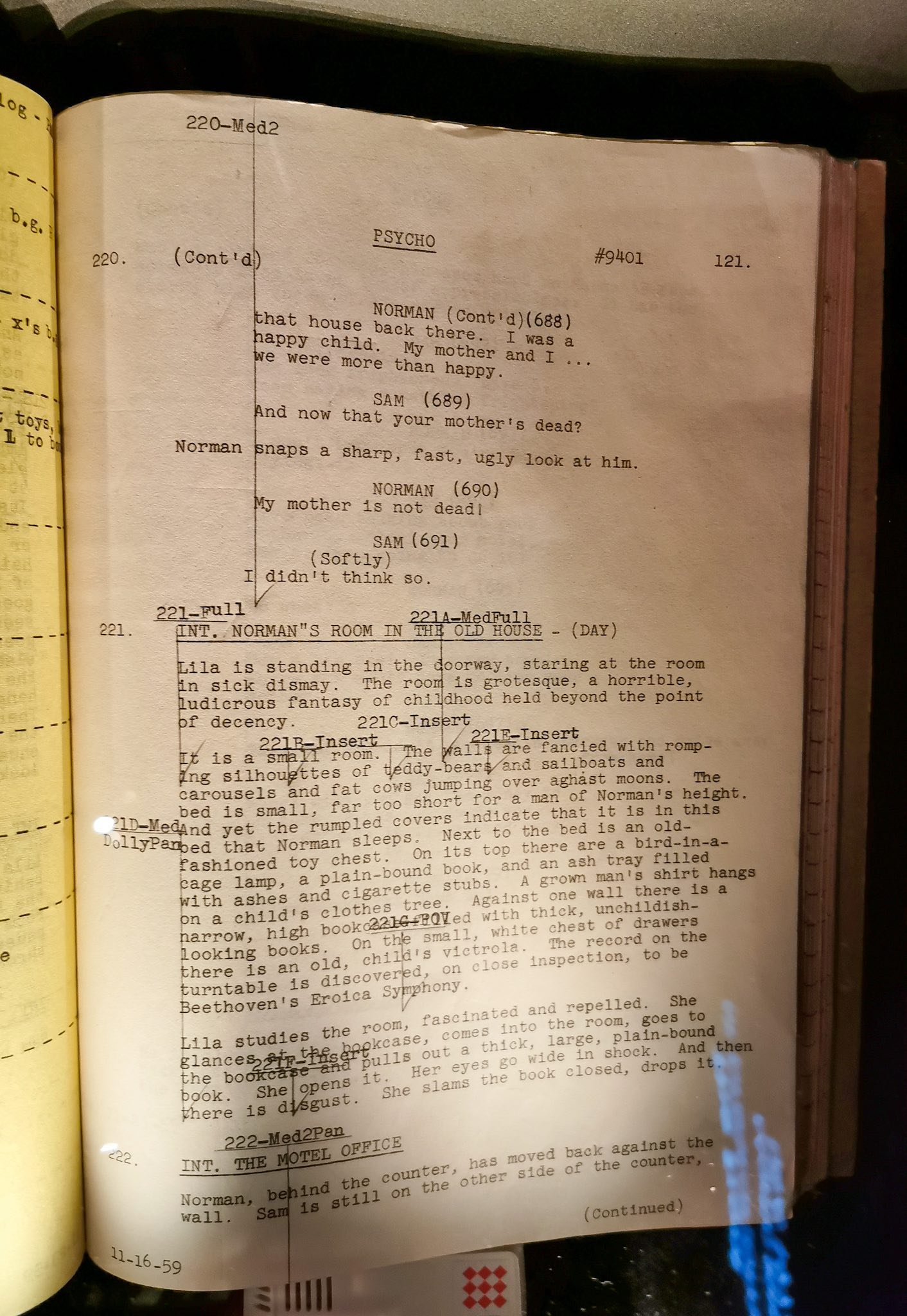 A page from the original script of the movie Psycho on display at Turin's National Museum of Cinema