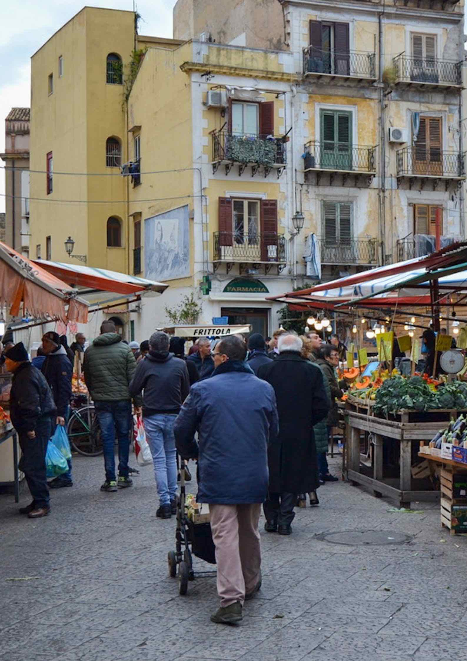 A colorful street market in Palermo