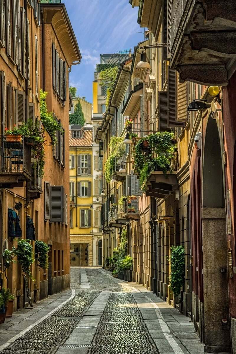 A fascinating street lined with historic buildings in Milan's Brera district