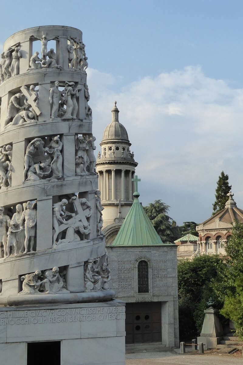 The elaborately sculpted tower inside the Monumental Cemetery of Milan