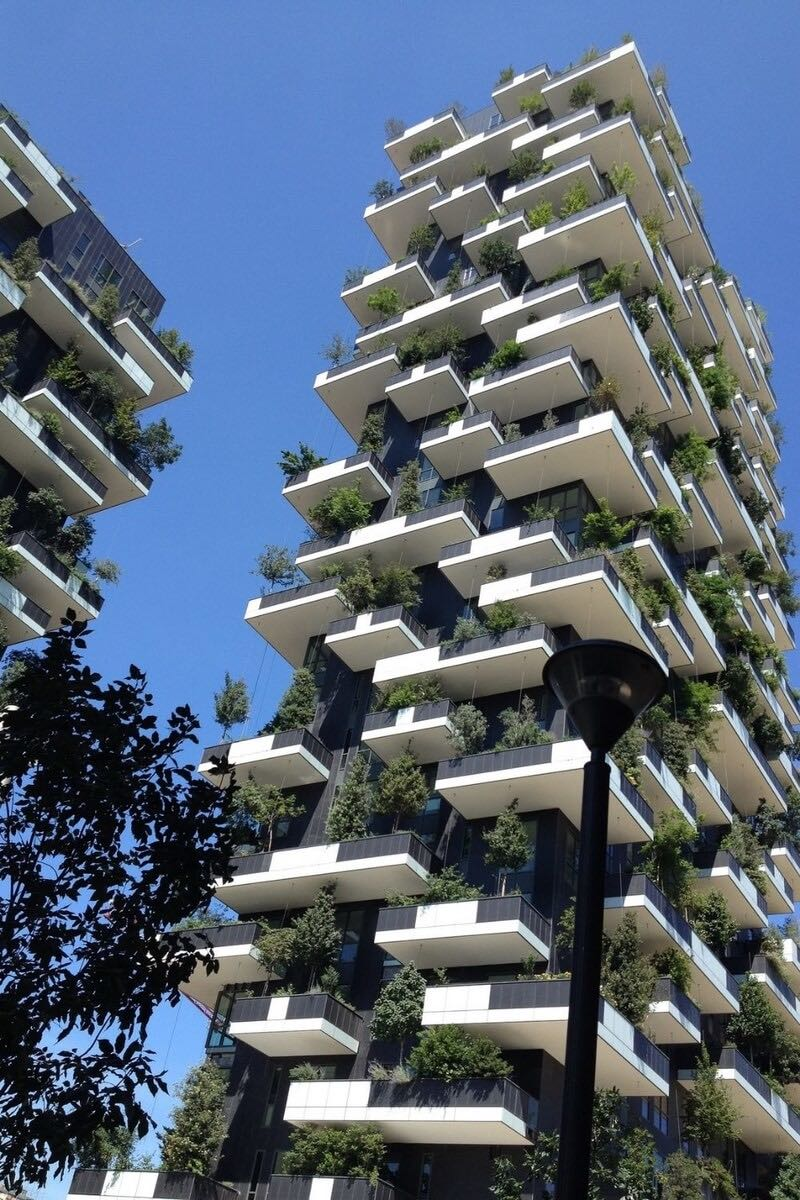 Milan's Vertical Forest, a couple of residential towers covered in plants