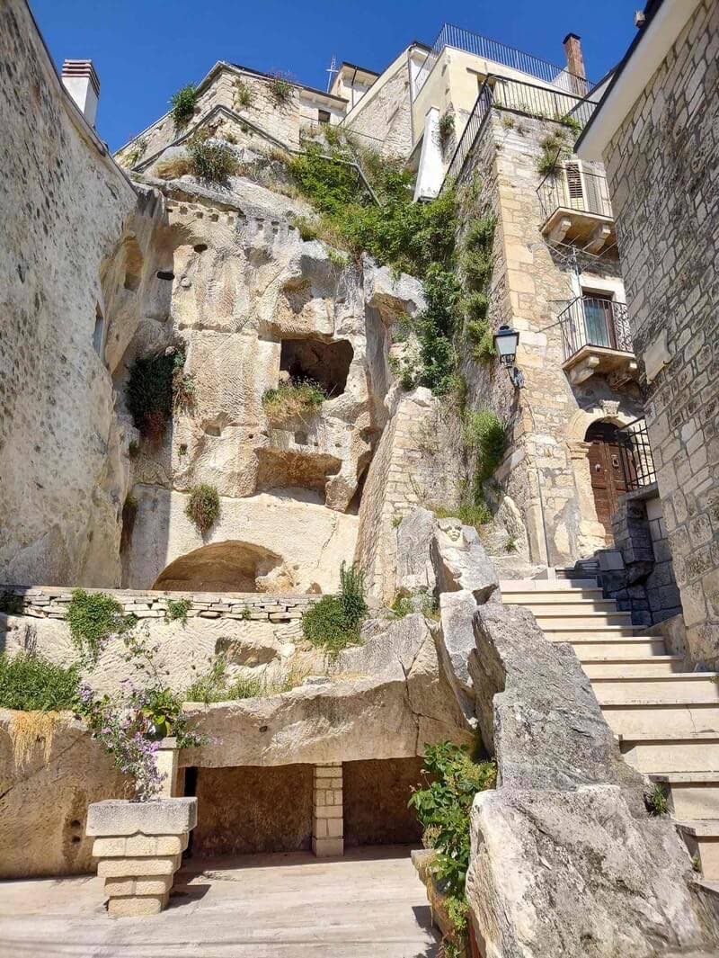 Ancient stone houses with little balconies and stairs in the village of Pennapiedimonte in Abruzzo