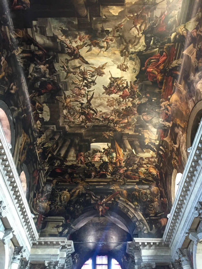 The giant painted ceiling of the Church of San Pantalon in Venice